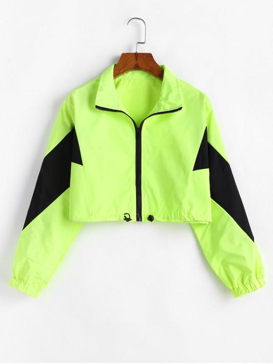 new Zip Front Neon Lime Cropped Windbreaker Jacket - GREEN L