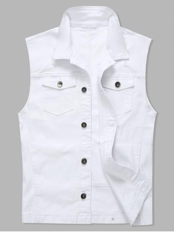 Color sólido de un solo pecho Casual Denim Chaleco - Blanco XL