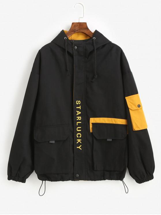 ladies Hooded Letter Drop Shoulder Pockets Jacket - BLACK S