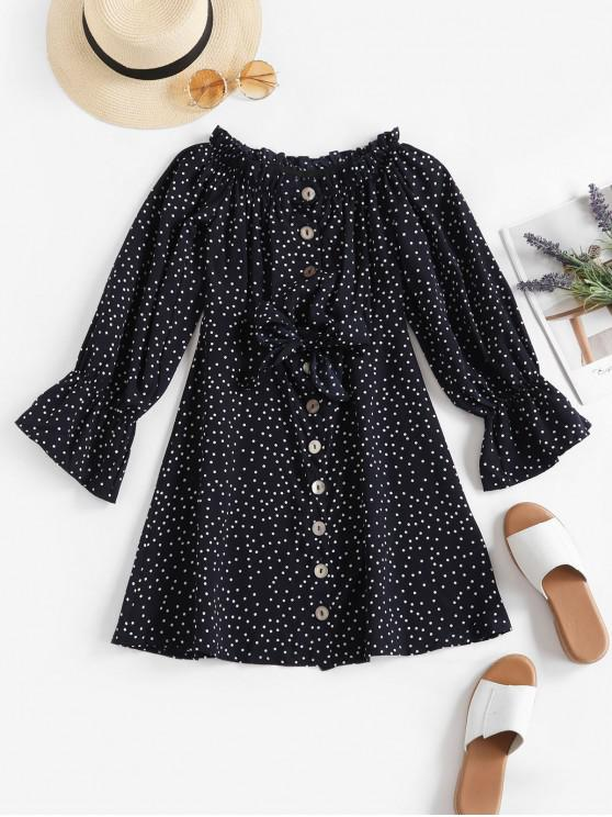 fashion Button Up Tie Front Dotted Long Sleeve Dress - DARK SLATE BLUE S