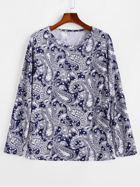 unique Ethnic Paisley Pattern Round Neck Sweater - DEEP BLUE L