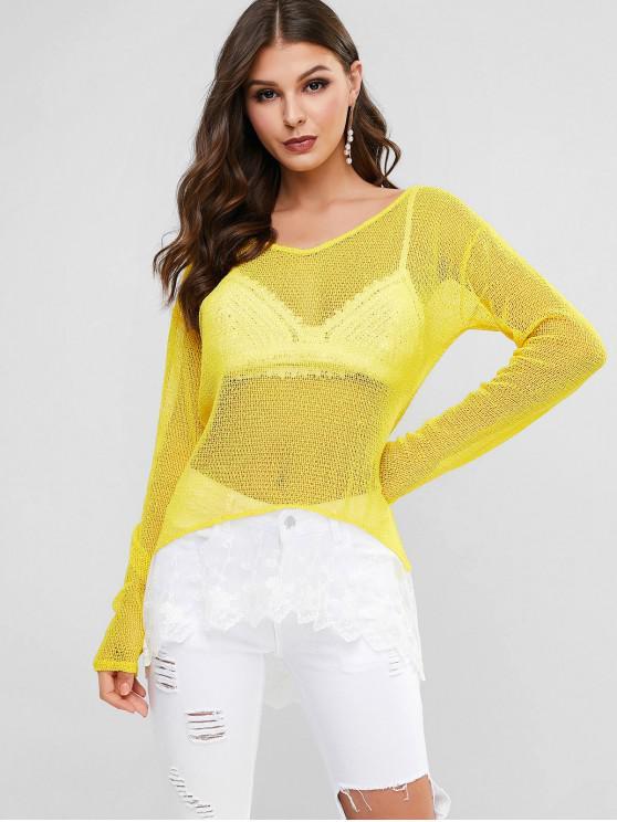 fashion Lace Hem Crochet Top - YELLOW ONE SIZE