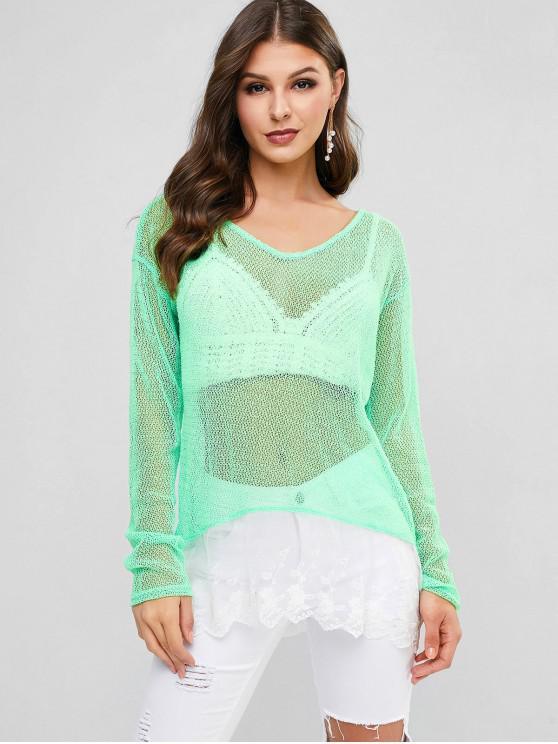 hot Lace Hem Crochet Top - GREEN ONE SIZE
