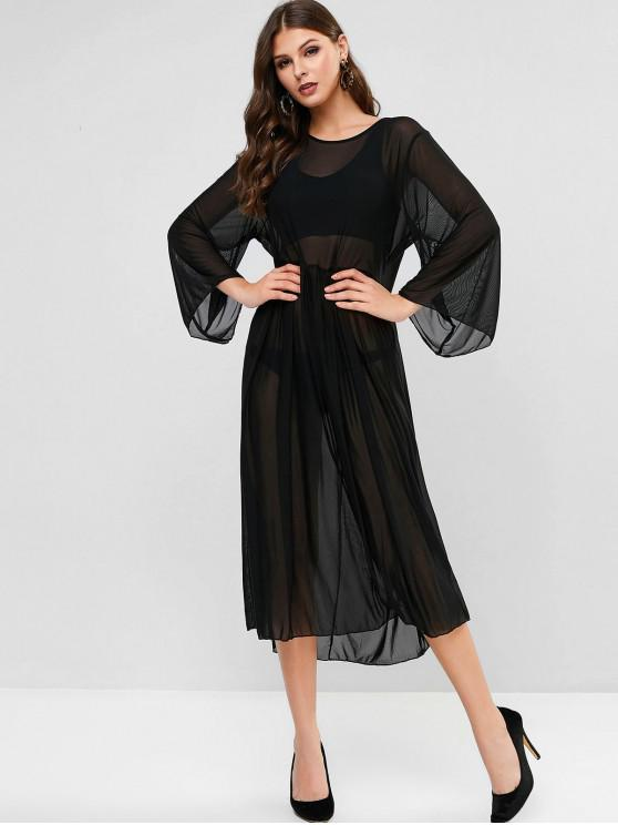 fancy Sheer Mesh Maxi Cover-up Dress - BLACK ONE SIZE