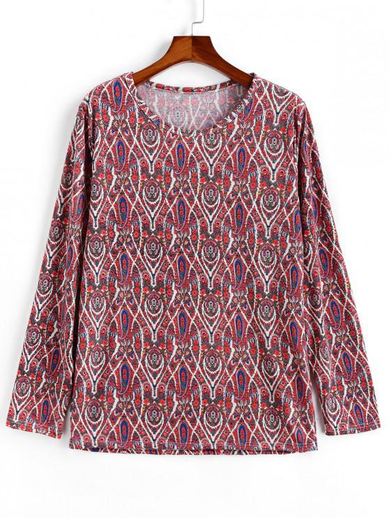 outfit Casual Paisley Pattern Sweater - RED XL