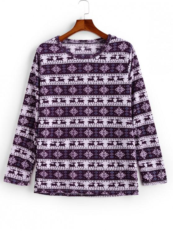 chic Deer Snowflake Pattern Casual Sweater - MULTI-A XL