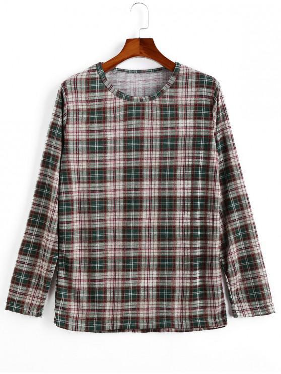 online Plaid Pattern Round Neck Casual Sweater - LIGHT KHAKI 2XL