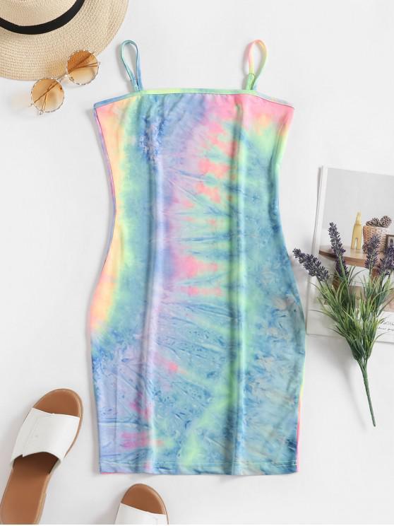 Tie Dye vestido ajustado de Cami - Multicolor L