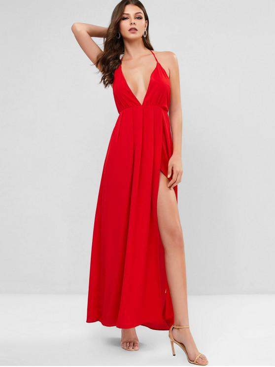 women Backless Solid Maxi Halter Dress - RED M
