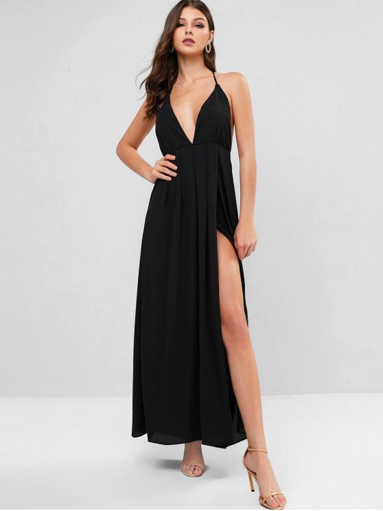 lady Backless Solid Maxi Halter Dress - BLACK M