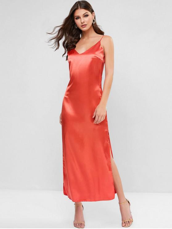 狹縫緞面馬克西吊帶裙 - 紅 L