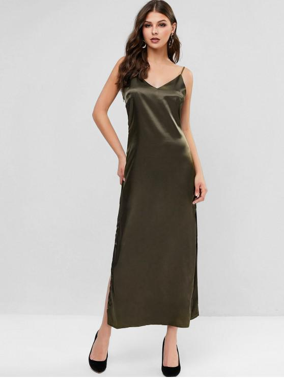 outfit Slit Satin Maxi Slip Dress - ARMY GREEN L