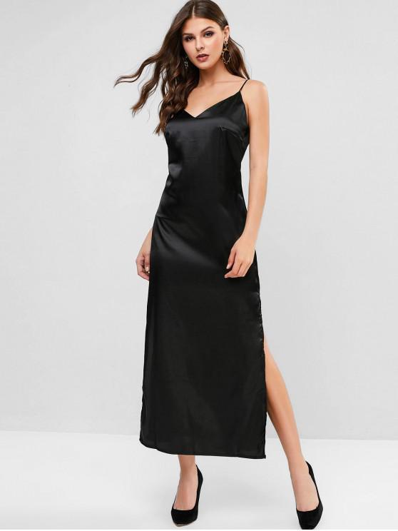 Vestido de raso de hendidura de deslizamiento Maxi - Negro L
