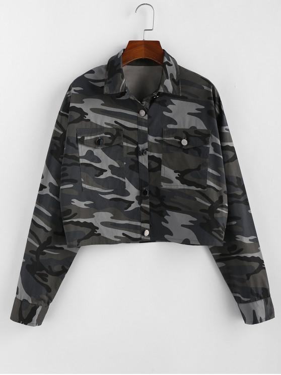 shops ZAFUL Camouflage Drop Shoulder Crop Jacket - CAMOUFLAGE GREEN M