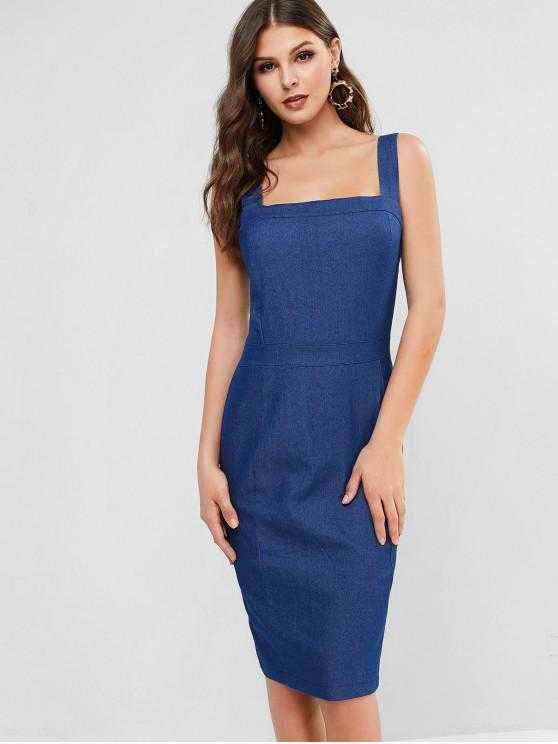 hot Square Collar Chambray Pencil Dress - BLUE M