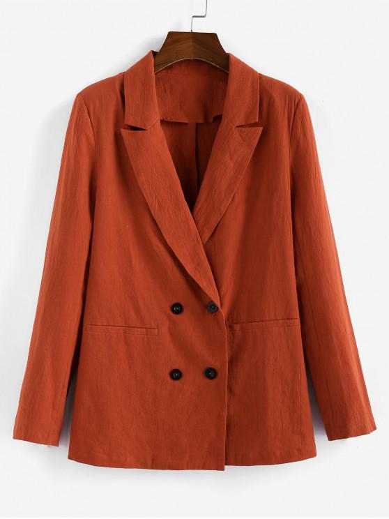 ZAFUL Отворот Двубортный Длинный Блейзер - Лосось-оранжевый цвет L