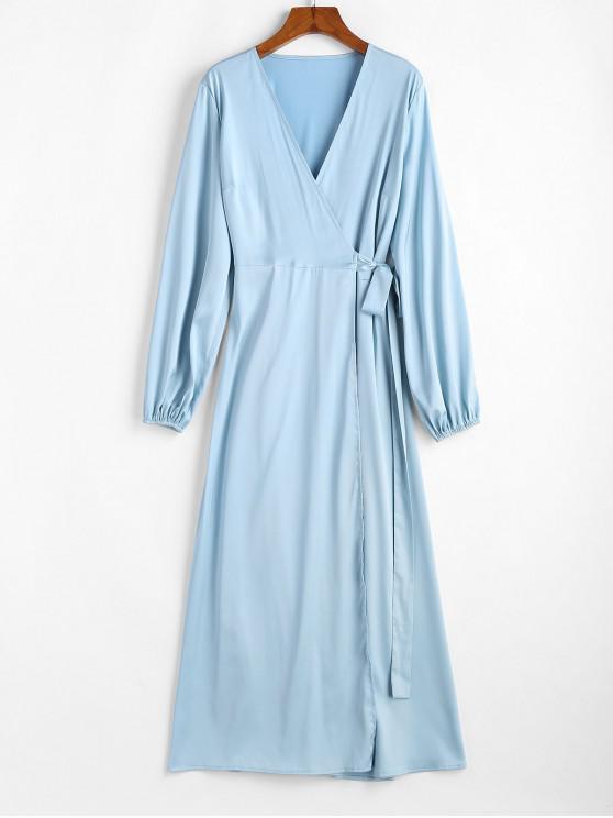 ZAFUL Vestido cruzado Maxi satinado - Azul de Koi XL