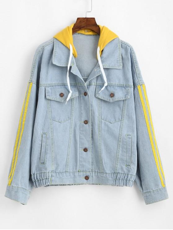 ladies Hooded Striped Drop Shoulder Denim Jacket - BLUE XL