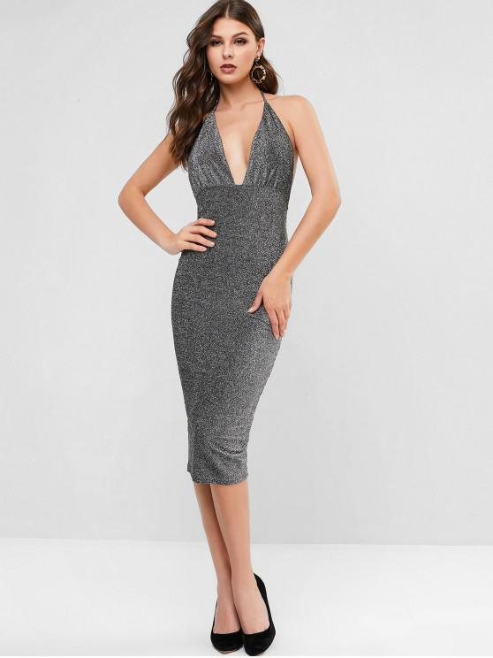 women's Glittery Metallic Thread Bodycon Dress - BLACK XL