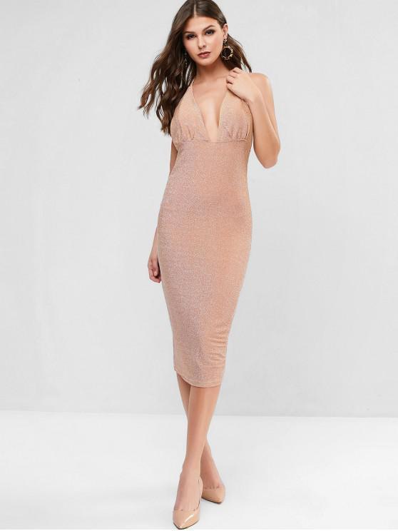lady Glittery Metallic Thread Bodycon Dress - APRICOT M