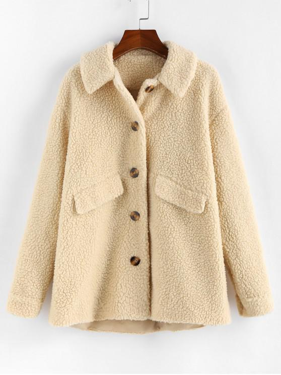 affordable ZAFUL Drop Shoulder Longline Teddy Coat - WARM WHITE S