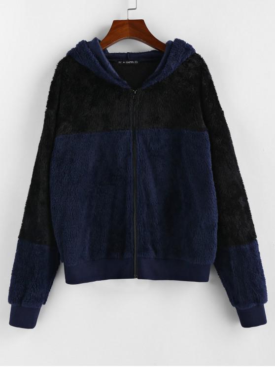 ZAFUL contraste postal Hasta piel de imitación de la chaqueta con capucha - Cadetblue L