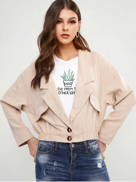 trendy Drop Shoulder Faux Pockets Blouson Jacket - BLANCHED ALMOND M