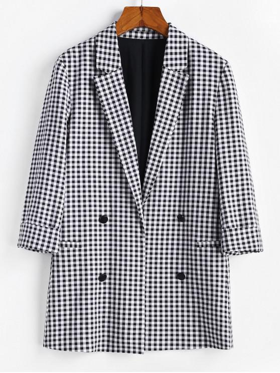 shops ZAFUL Cuffed Mock Button Gingham Blazer - MULTI S