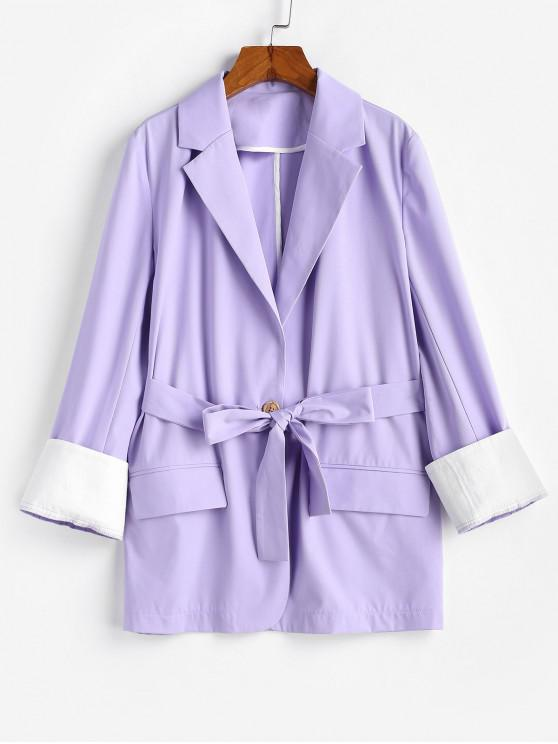 women's ZAFUL Belted Flap Pocket Cuffed Blazer - LAVENDER BLUE S