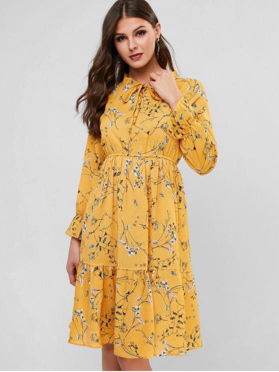 Ruff collar estampado de flores de vestir de manga larga del volante - Amarillo S