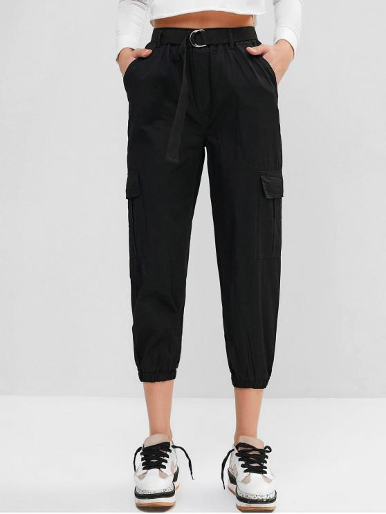 ladies Belted High Waisted Cargo Jogger Pants - BLACK 2XL