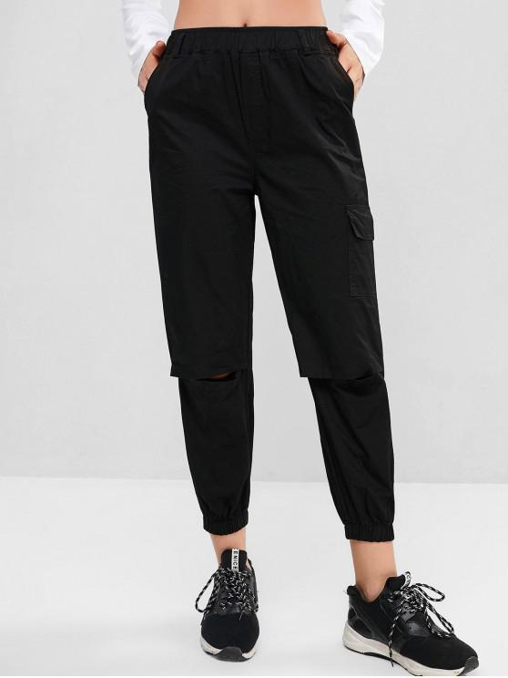 shops Cutout D-ring Belt Jogger Pants - BLACK L