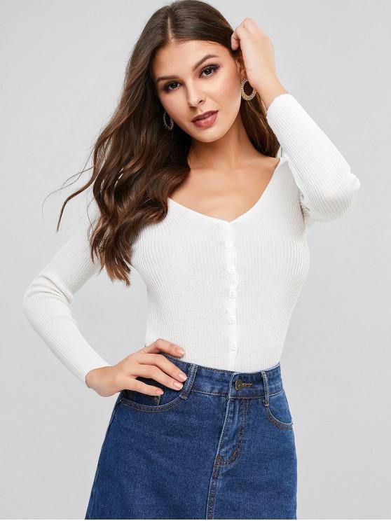womens V Neck Ribbed Slim Single Breasted Cardigan - WHITE ONE SIZE