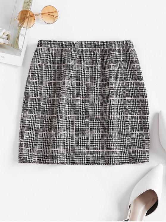 buy ZAFUL Houndstooth Plaid Mini Skirt - MULTI-A L