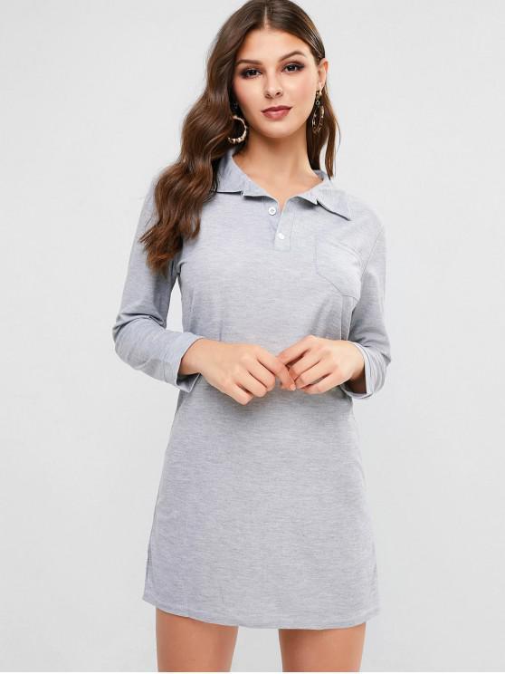 outfits Long Sleeve Three Buttoned Pocket Mini Dress - LIGHT GRAY S