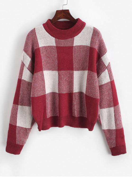shop Pullover Intarsia Knit Graphic Crew Neck Sweater - RED WINE ONE SIZE