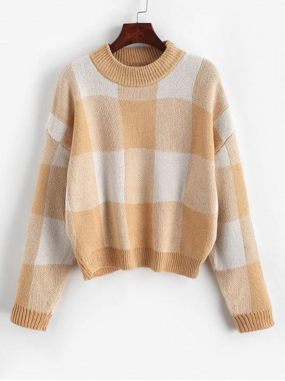 Pullover Intarsia Knit gráfico Crew Neck Sweater - Damasco Um Tamanho