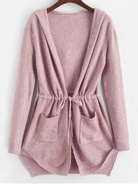 buy Longline Hooded Drawstring Pockets Cardigan - KHAKI ROSE ONE SIZE