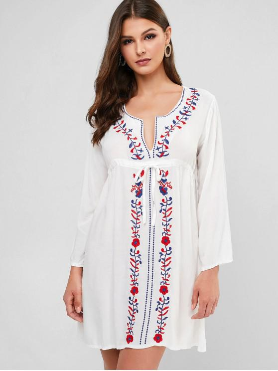 shop Waist Drawstring Embroidered Tunic Dress - WHITE ONE SIZE