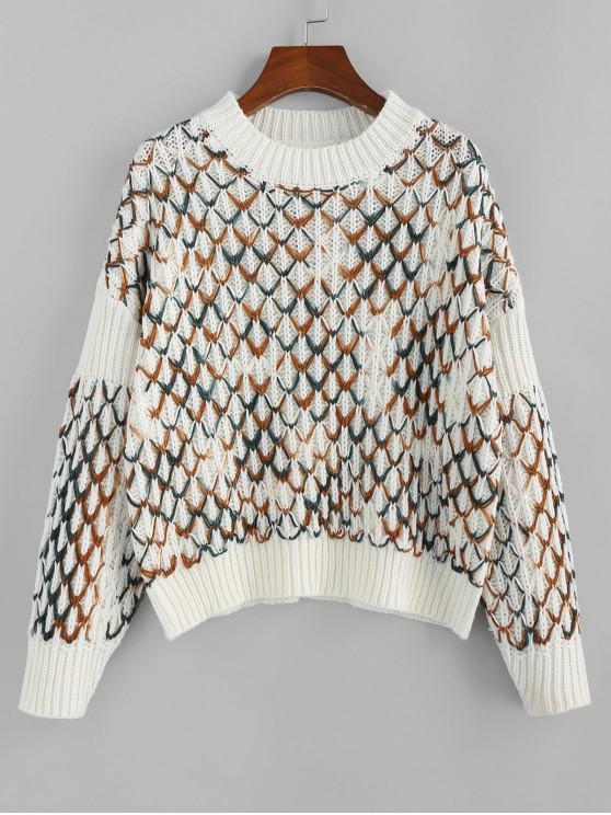 lady ZAFUL Argyle Drop Shoulder Jumper Sweater - MULTI S