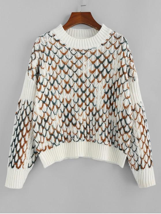 lady ZAFUL Argyle Drop Shoulder Jumper Sweater - MULTI M