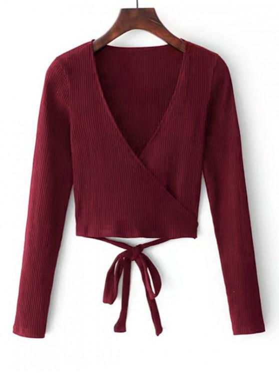 best Knitted Ribbed Wrap Top - RED WINE S