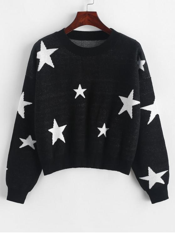 womens Star Graphic Crew Neck Crop Sweater - BLACK L