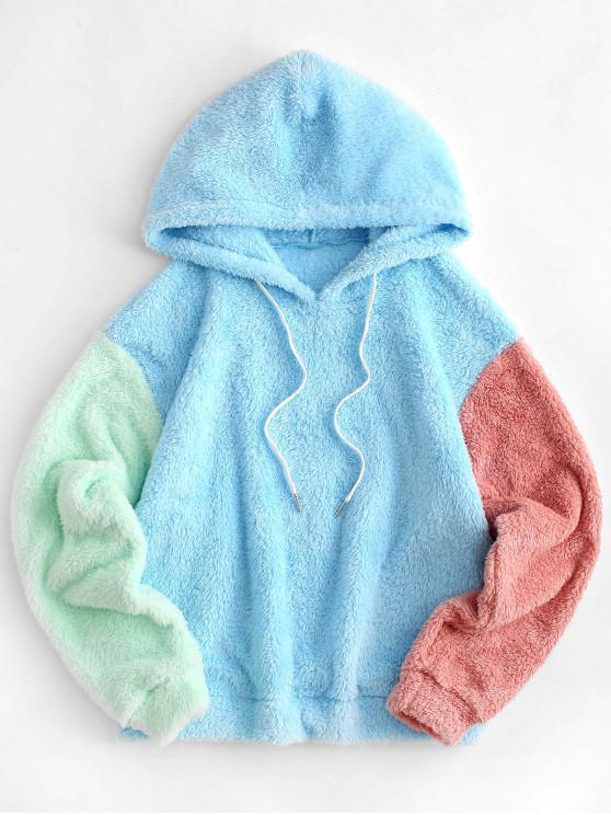 Spalla ZAFUL Colorblock goccia pelliccia sintetica con cappuccio - Multi Colori-A XL