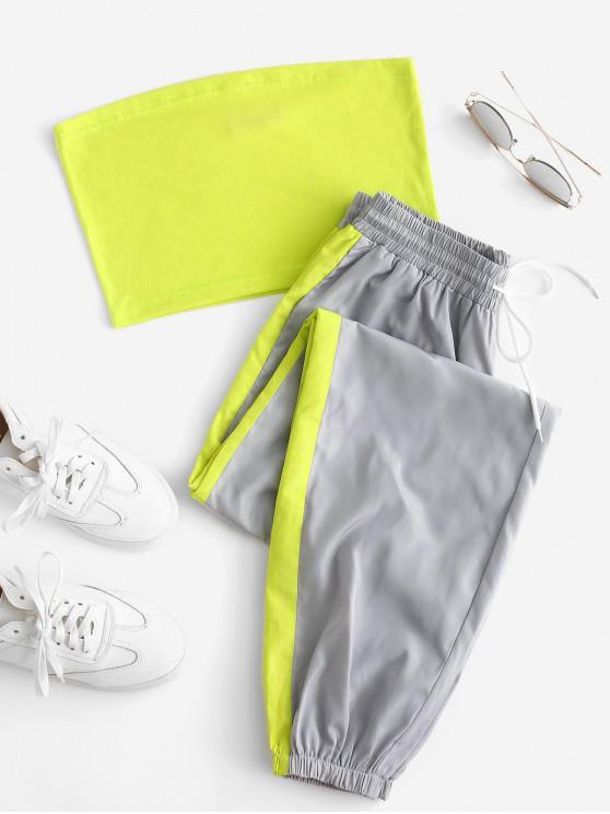 lady Bandeau Top and Contrast Jogger Pants Set - MULTI M