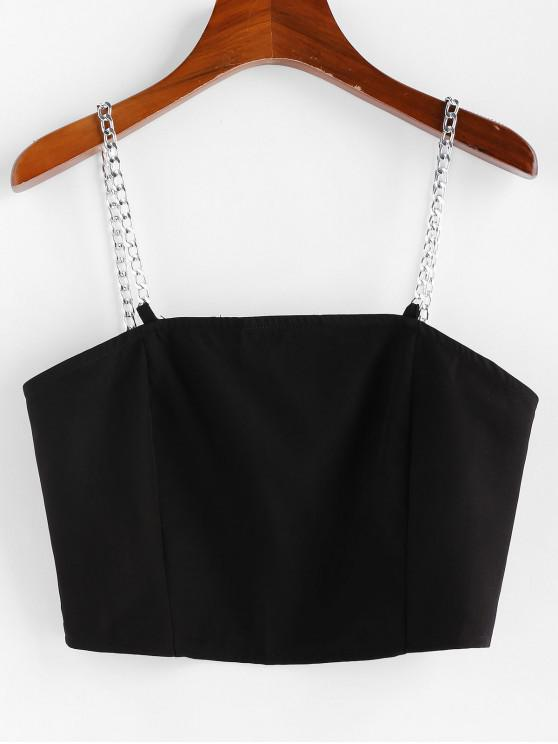 hot ZAFUL Chain Straps Zip Up Cropped Cami Top - BLACK M