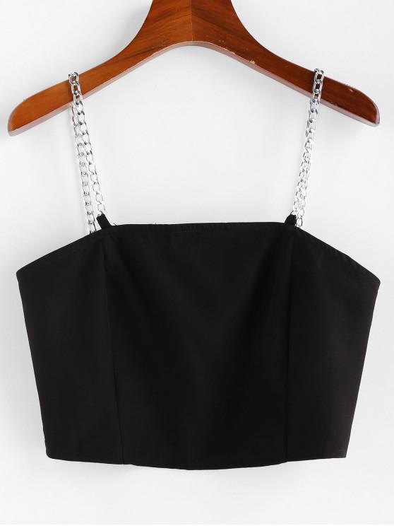 best ZAFUL Chain Straps Zip Up Cropped Cami Top - BLACK L