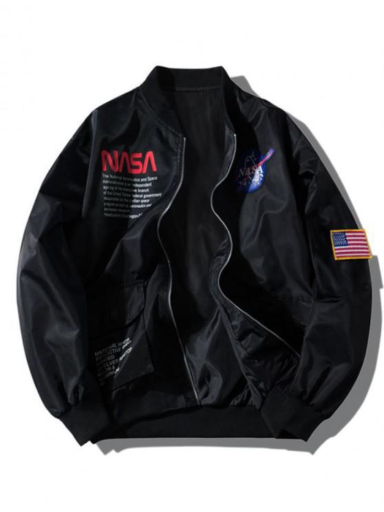 ZAFUL Carta gráfica del bordado de la bandera americana apliques bolsillo de la chaqueta - Negro L