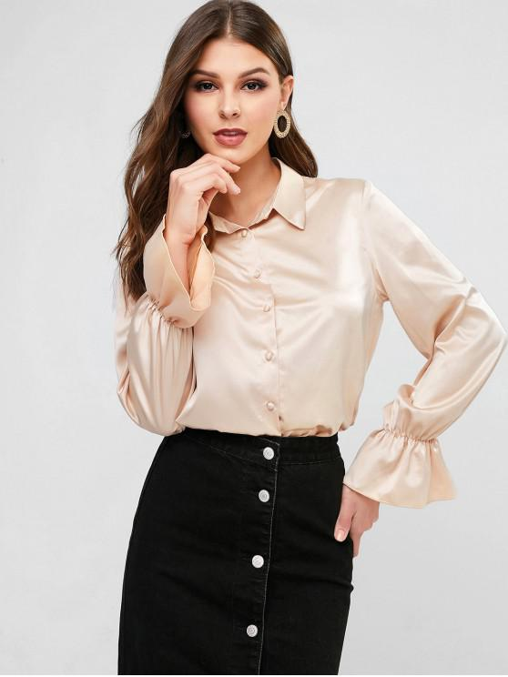 trendy Plain Poet Sleeve Satin Shirt - CHAMPAGNE XL