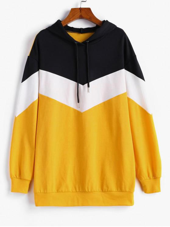 best ZAFUL Colorblock Tunic Hoodie - MULTI XL